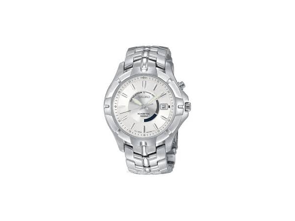 Seiko Mans Kinetic Watch White Stainless Steel Bracelet Round White Dial See-Thru Caseback Date by Seiko