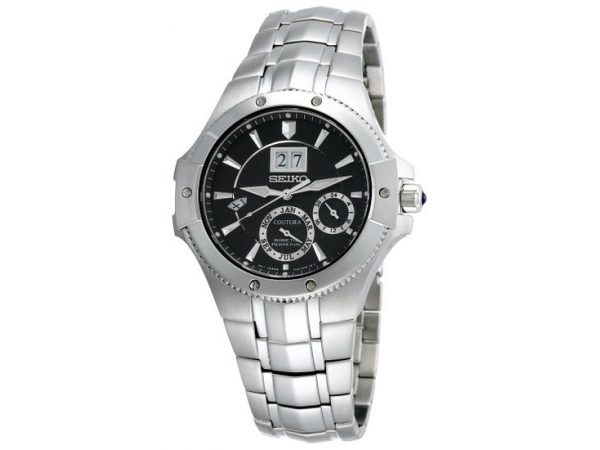 Seiko Mans Kinetic Perpetual Watch White Stainless Steel Bracelet Round Black Dial Sapphire Crystal Cabochon Crown by Seiko