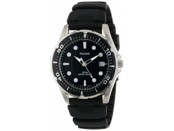 Pulsar Mans Divers Watch 100 Meter Black Rubber Band Black Dial Date Screw Down Crown by Pulsar