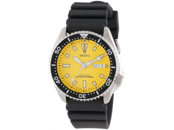Seiko Mens White Stainless Steel Divers Watch Yellow Face With Lumibrite Hands, Markers And Bezel, Day & Date, by Seiko