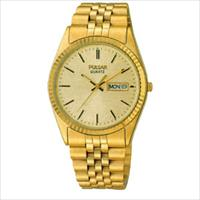 Pulsar Mens Watch Yellow Tone Bracelet With Yellow Dial And Day & Date by Pulsar