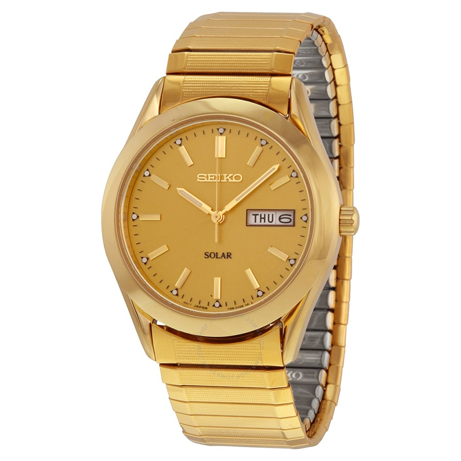 Seiko Solar Yellow Gold Plated Expansion Band Wacth by Seiko