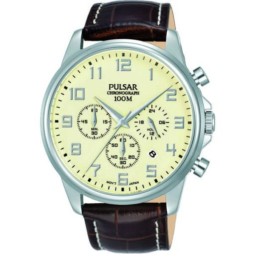 Gents Chronograph Brown Strap by Pulsar