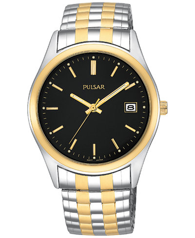 Pulsar Mens Two Tone Watch With Expansion Band, Black Dial, Date by Pulsar