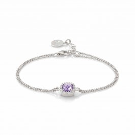 "Sterling Silver 7"" Amethyst & CZ Bracelet by Nomination"