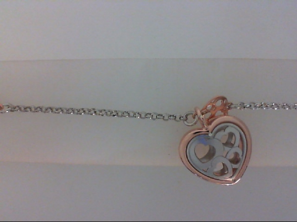 "8"" Sterling Silver & Rose Gold Plated Hearts link Bracelet by Nomination"