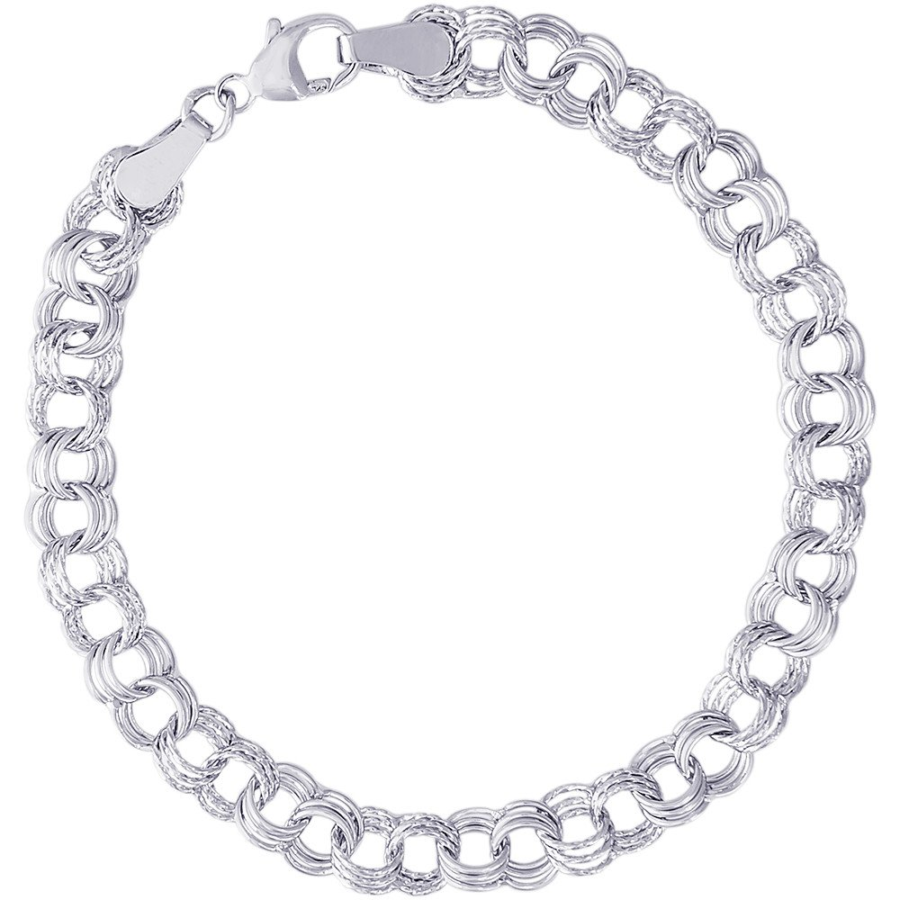 "7"" Triple Sterling Silver Charm Link Bracelet by Rembrandt Charms"
