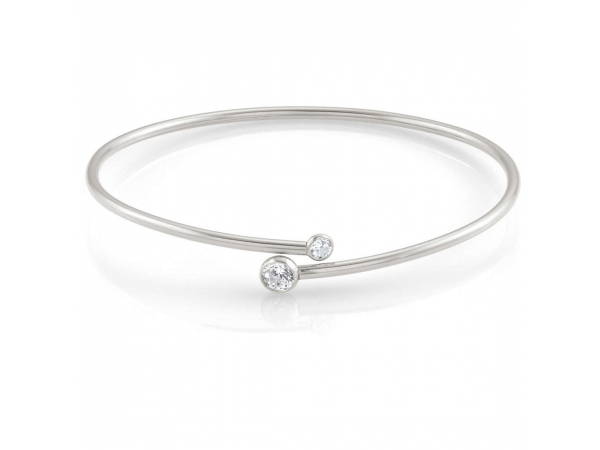Sterling Silver Cuff Bangle with CZ