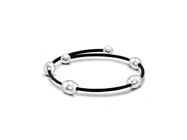 Off the Cuff Rubber Bracelet with Grey Freshwater Pearls by Imperial