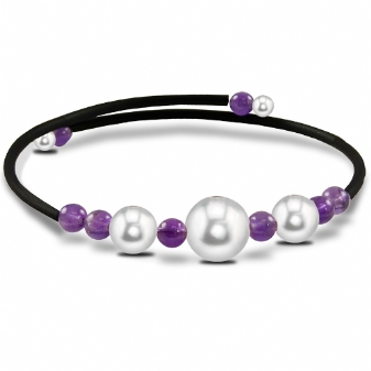 Off the Cuff Rubber Bracelet with Amethyst & Freshwater Pearls by Imperial