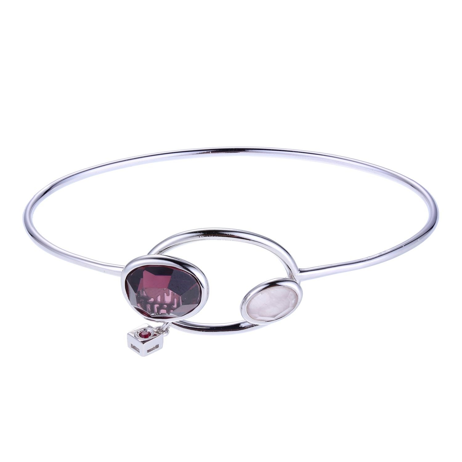"Elle Sterling Silver Bangle Length 7.25"" with Smokey CZ & Rose Quartz by Elle Jewelry"