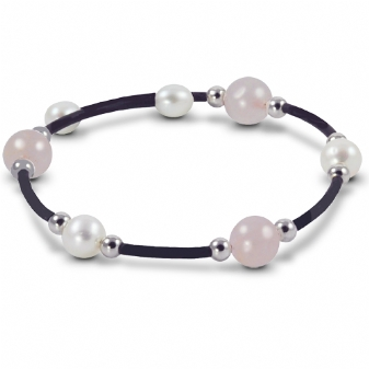 Off the Cuff Sterling Silver/Rubber Bracelet Rose Quartz & Freshwater Pearls by Imperial