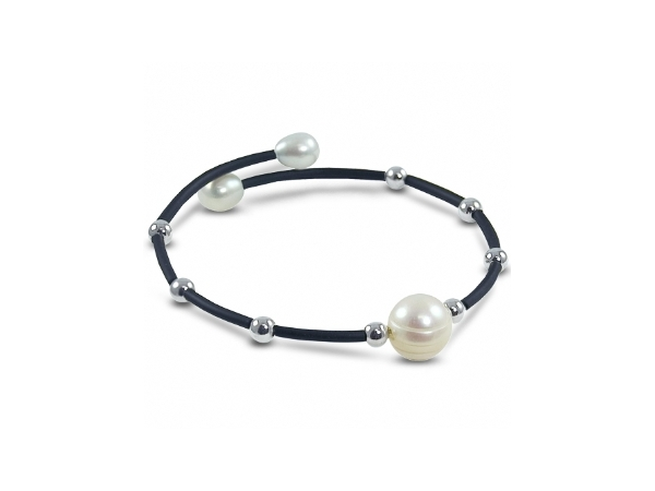 Off the Cuff Sterling Silver/Rubber Freshwater Pearls by Imperial