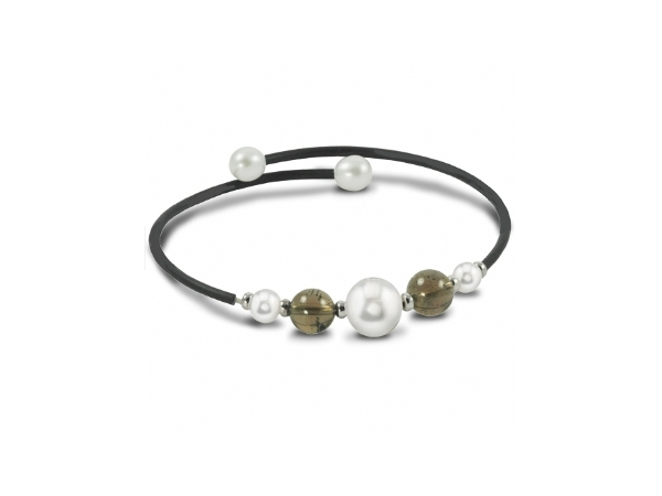 Off the Cuff Sterling Silver/Rubber Bracelet with Smokey Quartz & Freshwater Pearls by Imperial