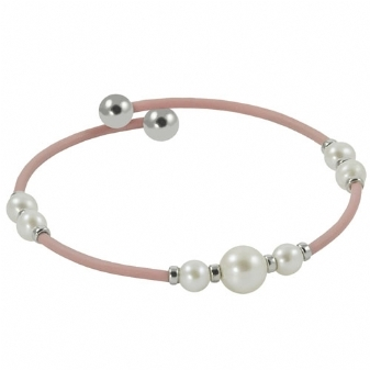 Sterling Silver/Pink Rubber &  Freshwater Pearl Cuff Bracelet by Imperial
