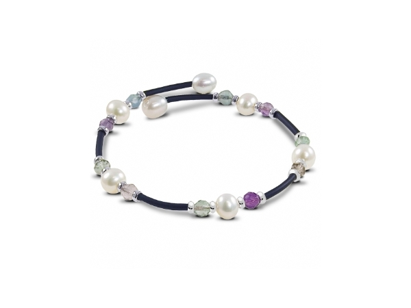 Off the Cuff Sterling Silver/Rubber Bracelet Prehnite, Amethyst & Freshwater Pearls by Imperial