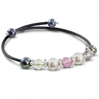 Off the Cuff Sterling Silver/Rubber Bracelet with Dyed Grey & Black Freshwater Pearls & Amethyst by Imperial