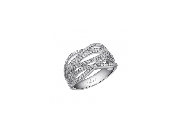 Lafonn Sterling Silver Wide Band Simulate Diamonds Ring Size 8 by Lafonn Jewelry