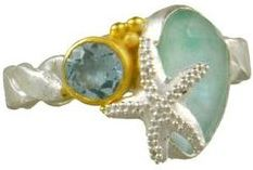 Sterling Silver & 22K Vermeil Star Fish ring with Sky Blue Topaz & Amazonite Mother of Pearl Quartz stones by Michou