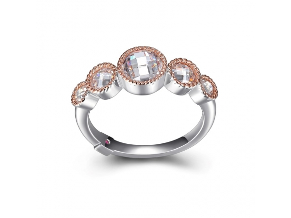Elle Sterling Silver and Rose Gold Plated with 5 CZ