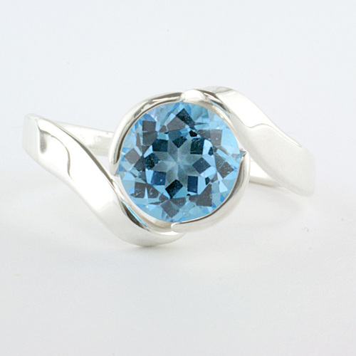 Tom Kruskal Sterling Silver Folds Ring with 8mm Round Amethyst size 7 (shown in picture with Blue Topaz) by Tom Kruskal