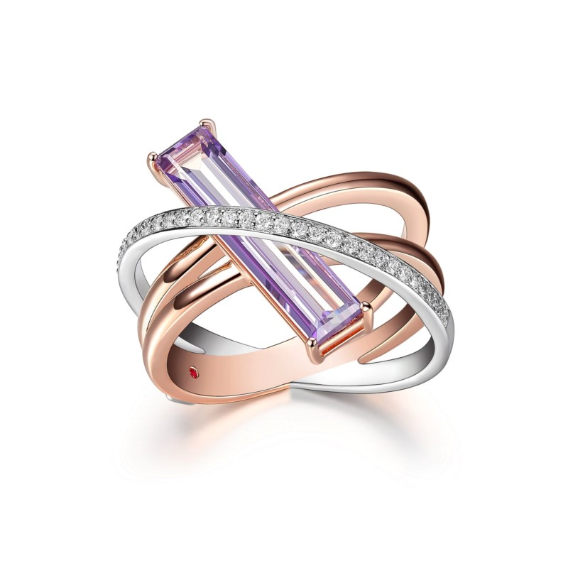 Elle Sterling Silver & Rose Gold Plate with Mystic Quartz & CZ