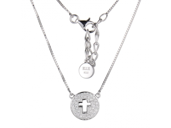 "Elle Sterling Silver Box necklaces 16"" + 2"" extention with Clear Cz on round dIsc with Cross by Elle Jewelry"