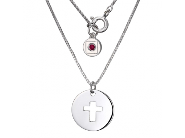 "Elle Stainlesssteel Box necklaces 16"" with Cross on Disc by Elle Jewelry"