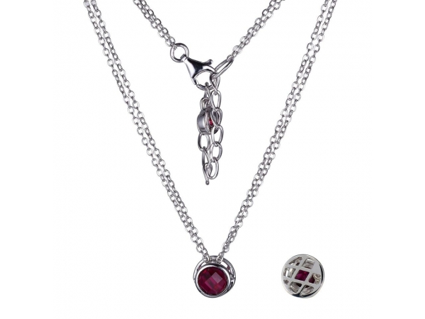 "Elle Sterling Silver Double Round Link necklaces 16"" with 2"" extention with Synthetic Red Corundum by Elle Jewelry"