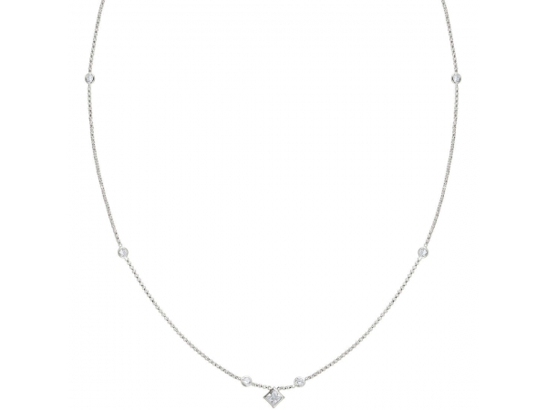 "Sterling Silver 18"" Rolo Chain with CZ"