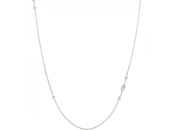 "Sterling Silver 31"" Rolo Chain with CZ"