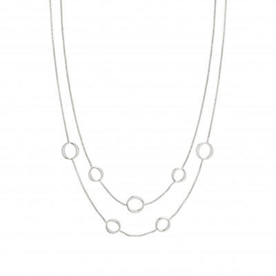 "Sterling Silver with 24K Yellow Gold Plated 18"" Double Rolo Open Link Chain (shown in white) by Nomination"