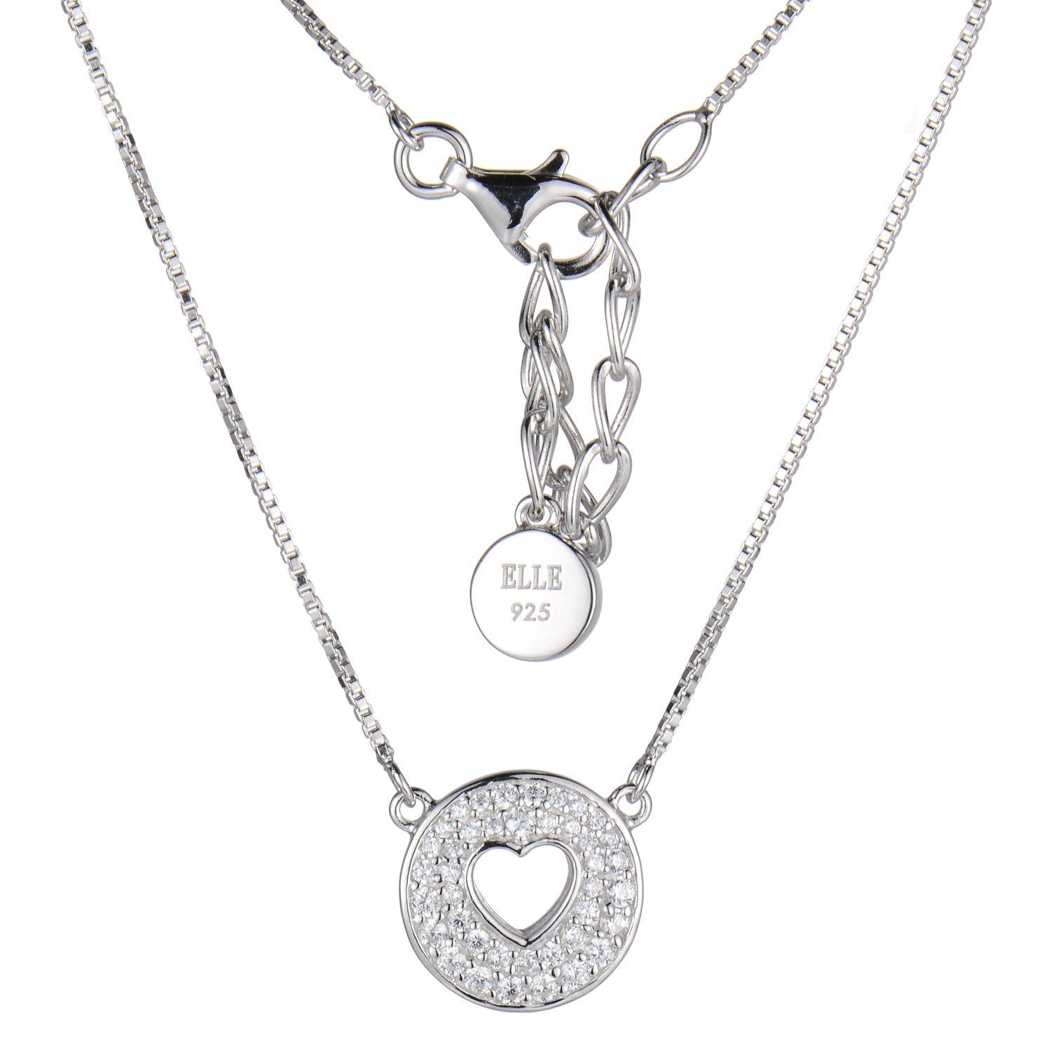"Elle Sterling Silver 16"" + 2"" Extention Box Chian With Clear Cz On Disc With Open Heart by Elle Jewelry"