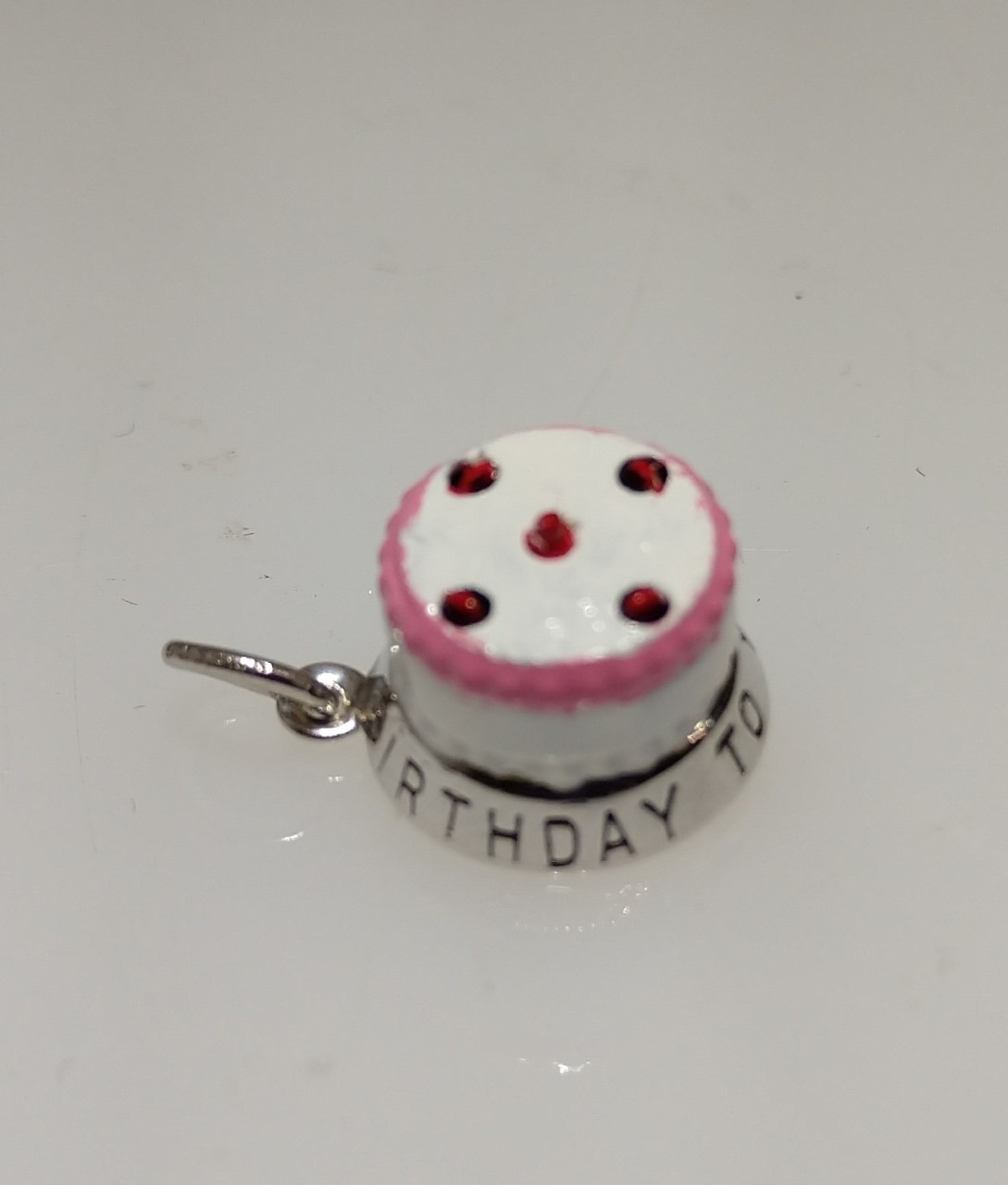Sterling Silver Enamelled Birthday Cake Charm by Cape Cod Jewelry