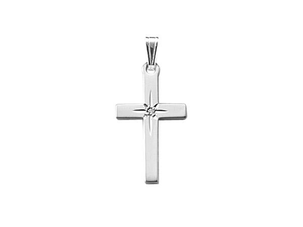 "Sterling Silver Cross with Diamond on an 18"" Rolo Chain by Cape Cod Jewelry"