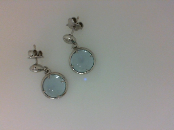 Sterling Silver Round Blue Topaz Cabachon Dangle Earrings by Nomination