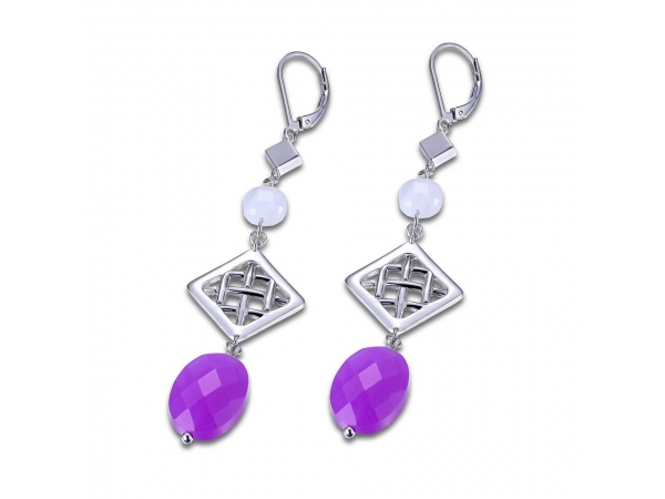 Elle Sterling Silver drop Earrings with Dyed Purple Quartzite & Blue Lace Agate by Elle Jewelry