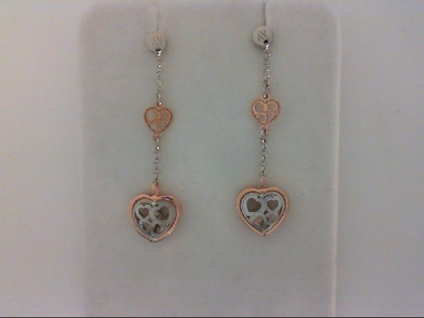 Sterling Silver & Rose Gold Heart Dangle Earrings by Nomination