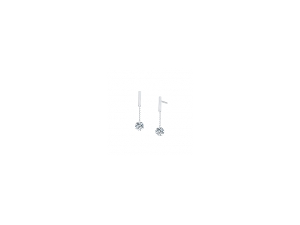 LaFonn Sterling Silver Bar with Drop CZ Earring by Lafonn Jewelry