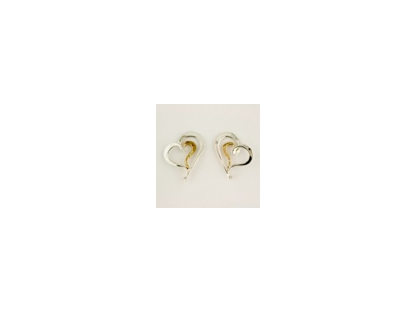 Tom Kruskal Sterling Silver & 14K Yellow Gold Nesting Heart Earrings by Tom Kruskal
