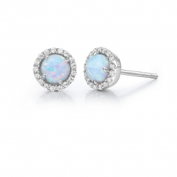 Lafonnn Sterling Silver Simulated Opal And Simulated Diamond Earrings by Lafonn Jewelry