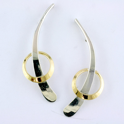 Tom Kruskal Sterling Silver & 14K Yellow Gold Trapped Circle Earrings by Tom Kruskal