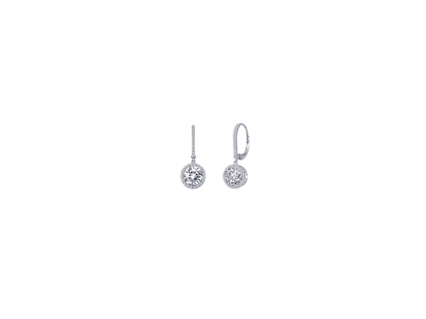 LaFonn Sterling Silver Leverback Drop Earrings with Round Halo Simulated Diamonds by Lafonn Jewelry