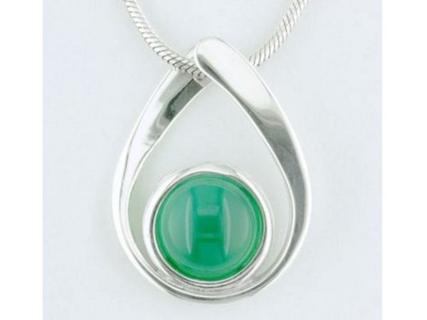 Tom Kruskal Sterling Silver Amber Droplet Pendant  (shown with chrysoprase stone) by Tom Kruskal