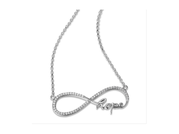 "Elle Sterling Silver Infinity Pendants 18"" + 2"" extention with Clear CZ & the word Hope by Elle Jewelry"