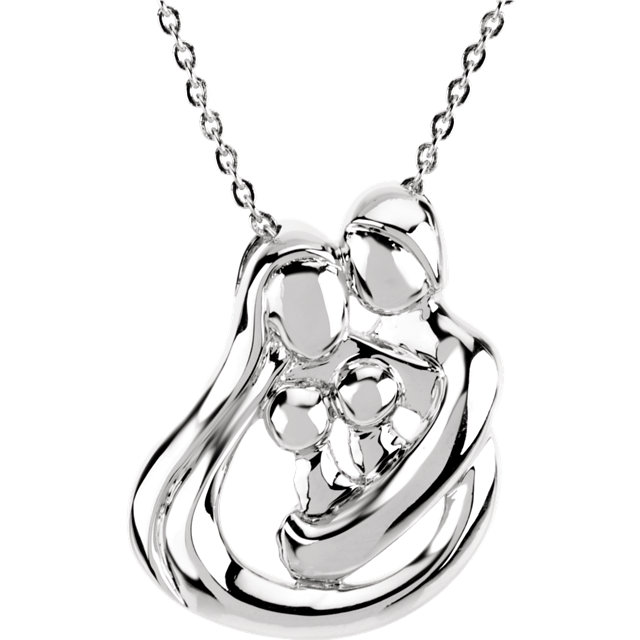 "Sterling Silver Family Embraced by the Heart Pendant on 18"" Round Link Chain by Stuller"