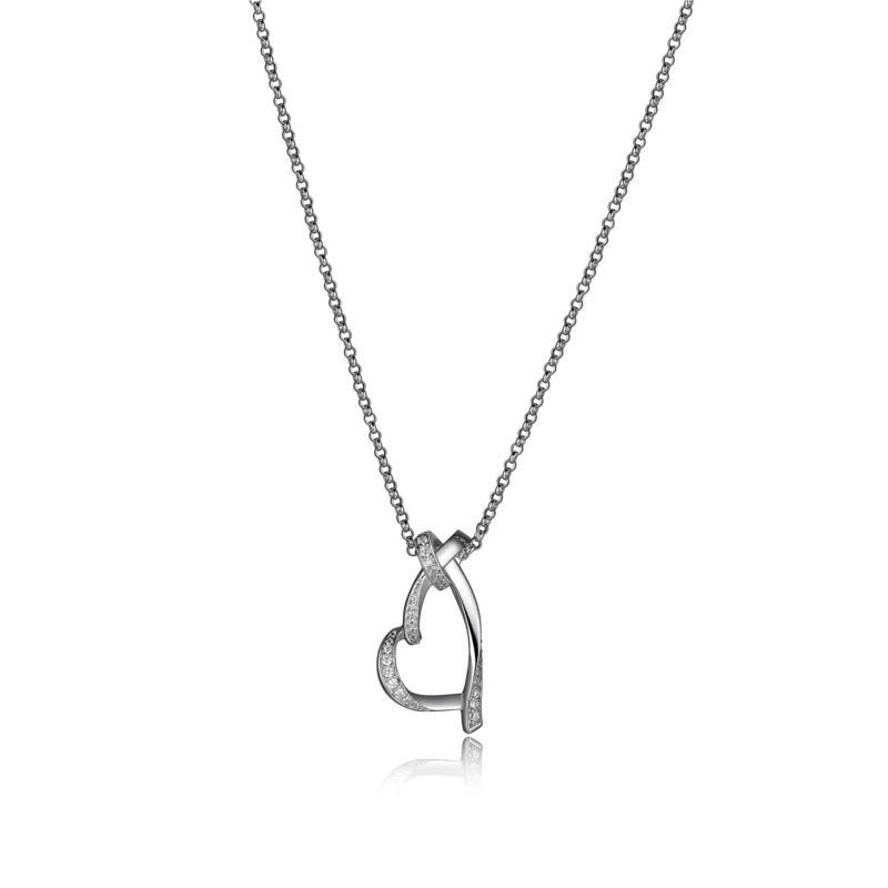 "Elle SterlingSilver 18"" with 2"" extension Open Heart with CZ"