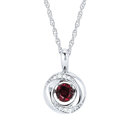 "18"" Sterling Silver Rope Link Chain with Shimmering Garnet with .03tw Diamond Melee Pendant by Ostbye"