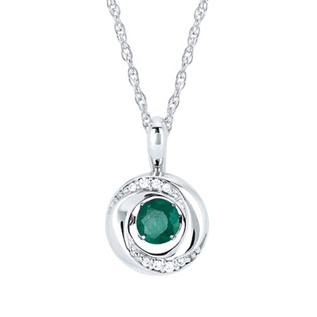 "18"" Sterling Silver Rope Link Chain with Shimmering Emerald with .03tw Diamond Melee Pendant by Ostbye"
