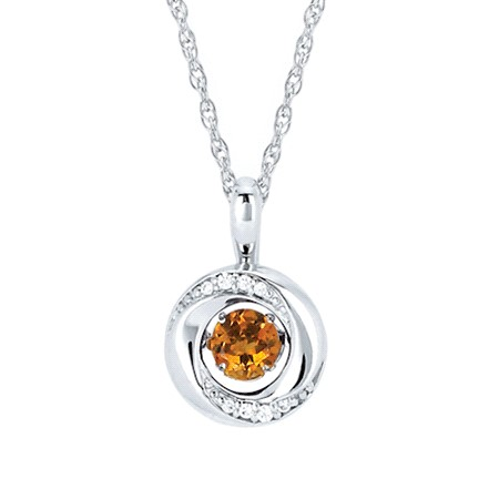 "18"" Sterling Silver Rope Link Chain with Shimmering Citrine with .03tw Diamond Melee Pendant by Ostbye"